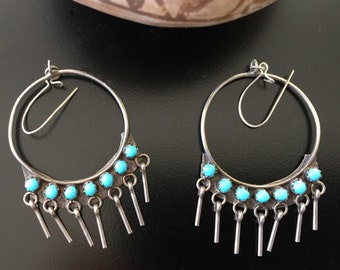 Vintage Zuni Hoop Earrings Sterling Silver & Petit Point Turquoise | Dangles | Southwestern Jewelry | Mothers Day Gift Wrapped Pierced