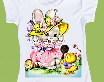 Girls Easter Bunny shirt, Pastel colors, Easter Bonnet, infants one piece, toddlers shirts by ChiTownBoutique
