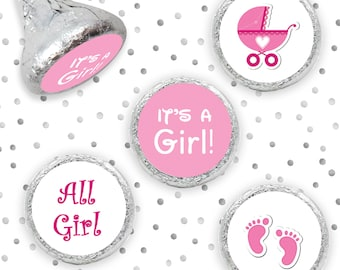 Its a Girl Hershey Stickers, Baby Shower Kisses, Hershey Kiss Sticker, Hershey Stickers, Pink Baby Shower Kisses Favor (324 Stickers)