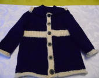 Little girl Blue Navy and Ecru coat size 2 years