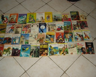 43 green library books and other vintage good condition and very good condition