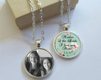 Mother of the Bride Gift, Personalized Double Sided Photo Pendant, Your Words Or Message