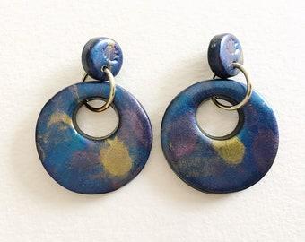Dangle Earrings - Faux raku large round polymer clay danhle earrings on posts