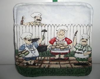 "QUILTED POTHOLDERS ""BBQue Guys"", Great for the Man who always BBQ,  Heat Resistance Batting, Lightweight"