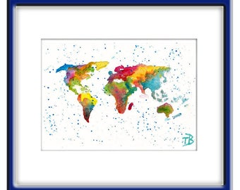 ORIGINAL WORLD MAP Watercolor  Abstract  Painting Contemporary  Art   Modern   by Tanja Bell