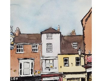 Bailgate Lincoln - Fine Art Giclée Print, beautiful townscape of Lincoln