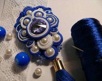 Blue soutache pedant, soutache necklace, handmade jewelry