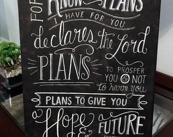 Custom Hand Lettering Canvas Jeremiah 29:11 (11x14)