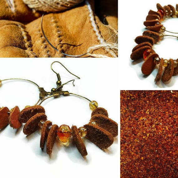 Metal hoop earrings with discarded leather waste leaves and beads