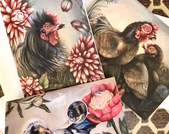 Set of 3 blank artist greeting cards with envelopes: Chicken, Rooster, and Flowers love variety pack