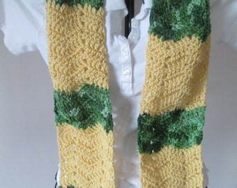 Cornmeal Yellow and Green Tones, Chevron Scarf, Ready to Ship