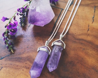 Amethyst Pendulum Pendant Crystal with Necklace