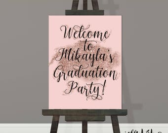 Pink &  Black Graduation Party Sign, Graduation Party Decorations, Party Signage, DIY Printable or Printed Poster, Board or Paper.