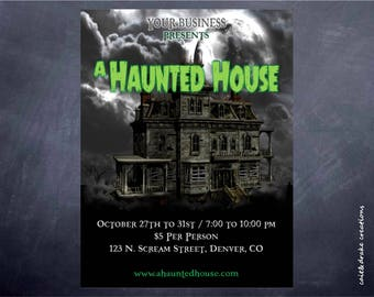A Haunted House Halloween Party Flyer Digital Printable!