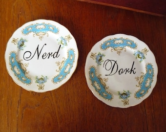 Nerd Dork hand painted 2 x  vintage bone china bread and butter plates with hangers recycled humor dorky decor display.
