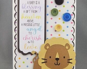 Handmade Lion Baby Card