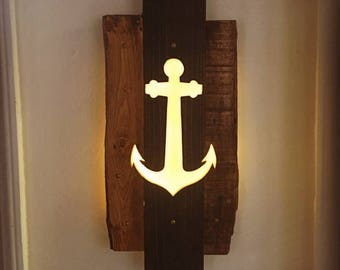 Anchor Cutout - Repurposed Pallets & LED Lights