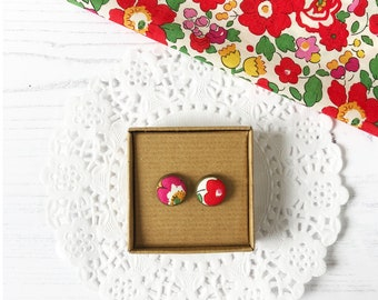 Quirky Earrings made with Liberty Fabric - Colourful Stud Earrings - Liberty Fabric Jewellery Handmade in Ireland - Small Gift Idea Friend