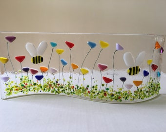 Fused Glass Bumblebee And Wild Flower Gardern Sun Catcher Free Standing Picture Gift