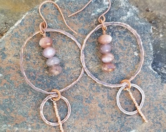 Chocolate moonstone and copper earrings