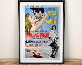 Viva Las Vegas with Elvis Presley and Ann Margret Classic Romance Movie Poster