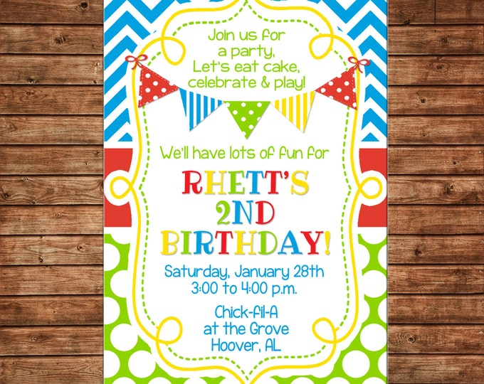 Boy or Girl Invitation Generic Sibling Gender Neutral Birthday Party - Can personalize colors /wording - Printable File or Printed Cards