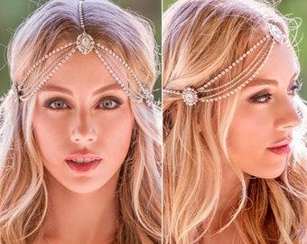 Boho bridal headpiece, Crystal bridal headband, wedding headband, bridal hair accessories, boho wedding headpiece, Prom Headpiece, H221-S