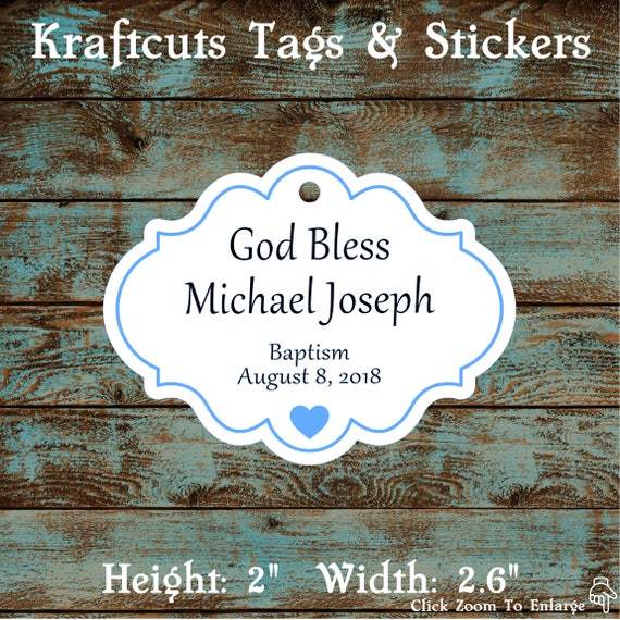 Personalized Favor or Gift Tags - God Bless Baptism Tags with Blue Border #769 - Quantity: 30 Tags