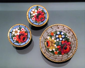 Vintage Italian Micromosaic Brooch & Clip-On Earring Set with Floral Motif, ca. 1970's