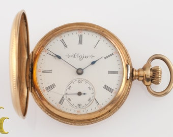 Antique Elgin 14k Yellow Gold Full Hunter Pocket Watch Size 0 7J 1904