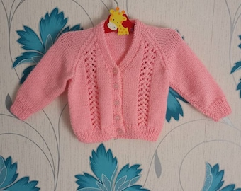 Girls Cardigan, 3 - 6 Months, Pink Cardigan, Knitted Cardigan, Baby Girl, Handmade, Hand Knitted, Baby Shower Gift, Baby Gift