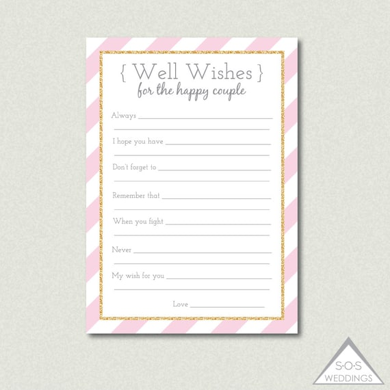 Printable wedding well wishes advice for the couple marriage printable wedding well wishes advice for the couple marriage advice pink and gold bridal shower reception game printable advice cards spiritdancerdesigns Images