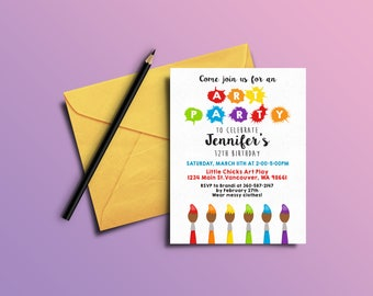 Art Party Birthday Invitations- Digital File OR Printed Invites- Painting Party- Birthday Invites- Art Party Invitations- Art Party Invites
