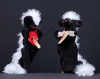 Skunk hand puppet, handmade faux fur puppet, animal puppet show