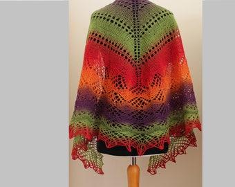Hand knit  lace Kauni wool shawl