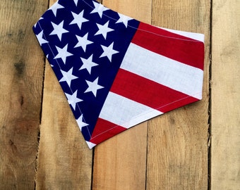 American Flag Dog Bandana | Fourth of July Dog Bandana | Flag Bandana | Memorial Day Bandana | Snap on Dog Bandana | Clip on Dog bandana