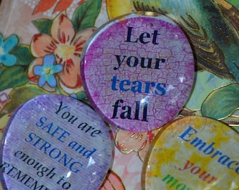 SOUL STONES set of three altered art collage therapy grounding inspirational word support recovery ptsd did mpd survivor