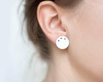 Leather circle Earrings studs, white  Geometric Earrings, stud earrings, Minimalist earrings, Modern White Earrings, gift for her