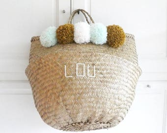 Basket Thai 45 cm with grey PomPoms green water, white, mustard, and custom embroidery