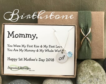 First Mother's Day New Mom Gift Baby's First Birthday gift for mommy from baby Gifts for Wife - Sterling Silver Birthstone Jewelry 2018 Baby
