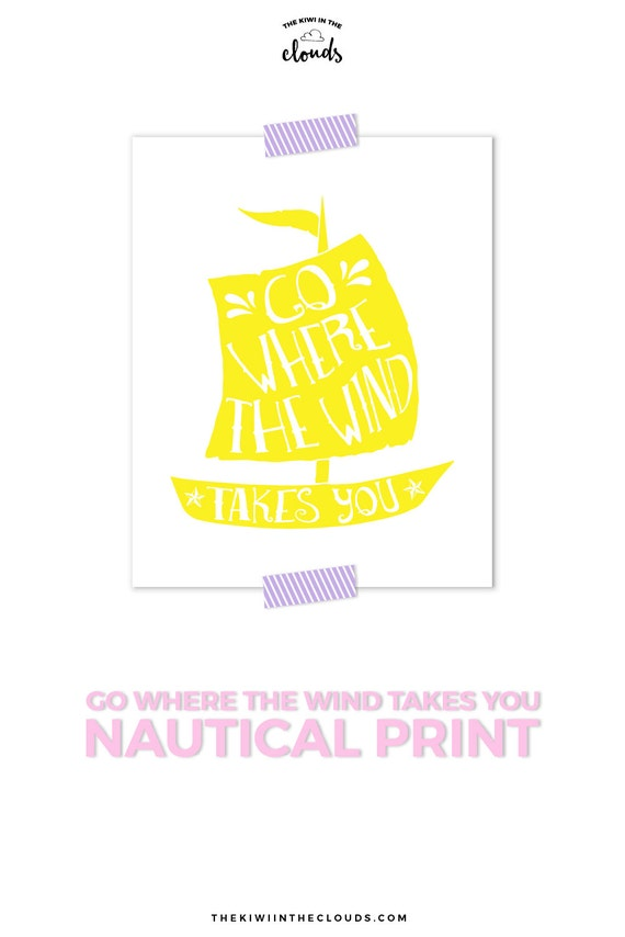 Nautical Nursery Girl Sailboat Art Yellow Nursery Art