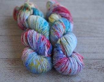 Cape May Meadows Rainbow Speckled Hand Dyed Yarn // 100% Superwash Merino Single Ply Sock Fingering Weight Yarn // Superwash Skein