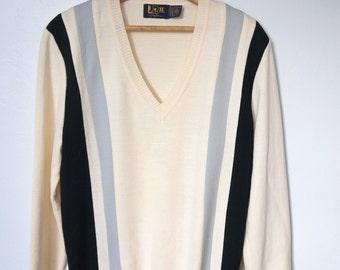 Men's Sweater Vintage Golf Pullover Beige Navy Grey Slouchy Knit Striped V Neck 1970's Size Extra Large