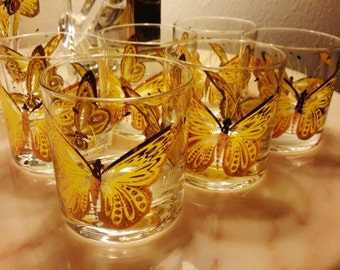 CULVER BARWARE GLASSES Butterflies Mid Century 22K Gold Set of 6 LowBall and Mixer + Ice Bucket Yellow Green Luxury Bar Mixer Set
