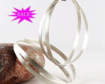 Hoop Earrings, silver hoop earrings, statement earrings, silver earrings, large hoops earrings,  handmade earrings, SALES 15% OFF