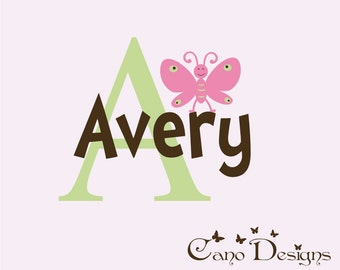 Personalized Monogram Name with butterfly, nursery, kids & teens room, custom removable decals stickers
