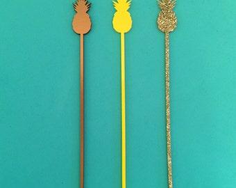 Pineapple Gold Glitter Drink Stirrers - Set of 6 Laser Cut Acrylic Swizzle Sticks