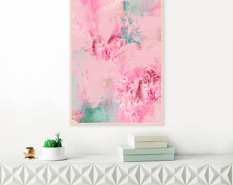 Pink Abstract Art, Floral Art, Pink Flower Painting, Pink Watercolour Painting, Modern Nursery Art, Extra Large Wall Art
