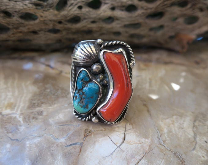 Men's Coral & Turquoise Ring