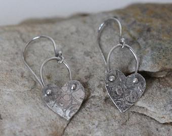 sterling silver heart earrings. dangling earrings. textured. oxidized. 925 silver. boho style